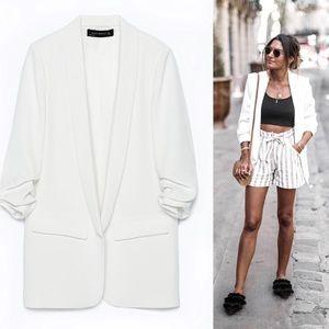ZARA • Slim Tuxedo Ruched Sleeve blazer jacket